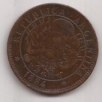 2 Centavos De Patacon Año 1884 Antigua Moneda De Cobre Mb+