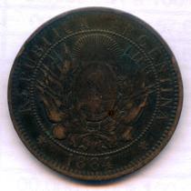 Moneda Argentina Cobre De 2 Centavos De Patacon 1884