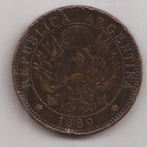 2 Centavos De Patacon Año 1889 Antigua Moneda De Cobre !!