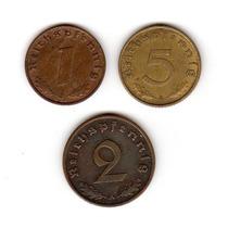 Bkz / Alemania Nazi - Lote De 3 Monedas De Cobre
