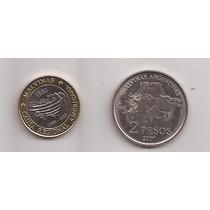 Super Oferta 2 Monedas De Malvinas 2 Pesos Años 2007 Y 2012