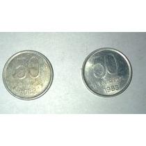 Lote De Dos Monedas De Argentina De 50 Centavos Del Año 1983