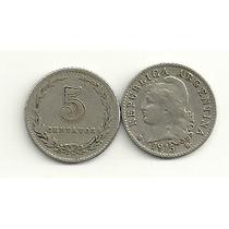 Moneda Argentina Niquel 5 Centavos Año 1915 Buena