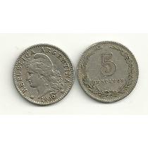 Moneda Argentina Niquel 5 Centavos Año 1909 Muy Buena