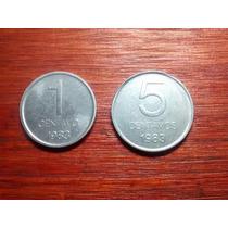 1983 - Lote De 1 Y 5 Centavos - Aluminio - Sin Circular