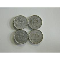 4 Monedas Aluminio 5 Ctvos 1970 72 73 74 Muy Buenas !!