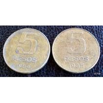 5 Pesos 1984 85 Se Vende Lote 2 Monedas