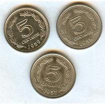 Argentina Lote Monedas 5 Ctvos. 1957-1958-1959