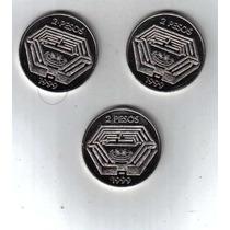 Borges 3 Monedas De 2 Pesos Año 1999 !!!!!!!!!!!!!!!!!!!!!!!