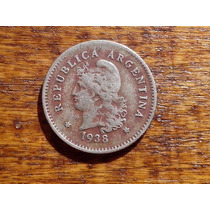 Moneda Antigua Argentina Año 1938 Niquel 10 Ctvos Roja