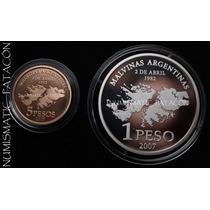 Moneda Plata 25º Gesta Malvinas Plata Y Oro Con Certificado