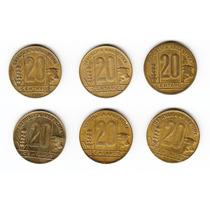 Argentina, Lote De 6 Monedas De 20 Centavos 1943/1950