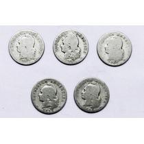 Lote 5 Monedas Argentinas De 20 Centavos Entre 1897 Y 1913