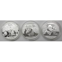 3 Onzas De Plata Pura Panda Chinas Impecables Encapsuladas