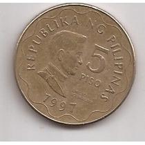 Filipinas Moneda De 5 Piso Año 1997 !!