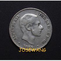 50 Centimos De Peso. Moneda Antigua Filipinas Del Año 1885 P