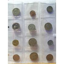 Colección Monedas 12 Diferentes En Hoja Plastica Lote