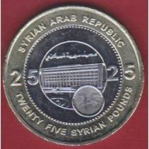 Siria 25 Pounds 2003 Bimetalica * Banco Central *