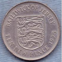 Jersey 10 New Pence 1975 * Elizabeth Ii * Escudo *