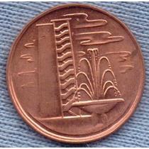 Singapur 1 Cent 1981 * Edificios De Departamentos * Fuente *