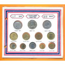 Tailandia Set X 12 Monedas Diferentes En Blister Oportunidad