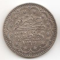 Turquia, Imperio Otomano, 5 Kurush, 1906. Plata. Aunc