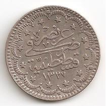 Turquia, Imperio Otomano, 5 Kurush, 1909. Plata. Xf+ / Aunc