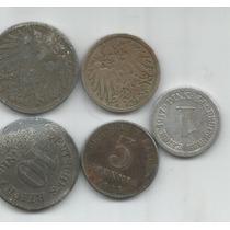 Alemania Imperio Lote De 5 Monedas De 1 ,5 Y 10 Pfennig