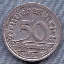 Alemania 50 Pfennig 1919 J * Republica Weimar *
