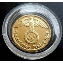 Moneda Alemania Tercer Reich/ Bañada En Oro 24 K..preciosa