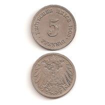 Moneda Alemania 5 Pfennig 1908 J