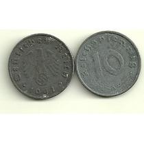 Moneda Alemania Reich 10 Pfennig Año 1941 Zinc Con Esvastica