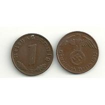 Moneda Alemania Reich 1 Pfennig Con Esvastica Año 1937/39