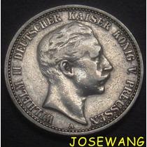 2 Mark, Moneda Antigua Alemana Del Año 1904 Plata