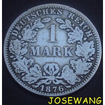 Mark, Moneda Antigua Alemana Del Año 1876 Plata