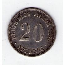 Alemania 20 Pfennig De Plata Año 1873