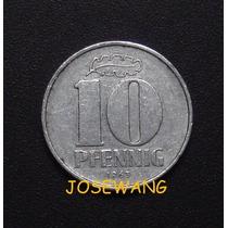 10 Pfennig, Moneda Antigua Alemana Del Año 1963 Rara