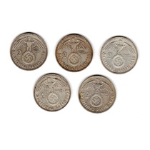 Bkz / Alemania Nazi 2 Reichsmark 1938 & 1939 Plata
