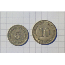 Alemania 2do Reich 5 Y 10 Pfennig 1907-1914 Berlin