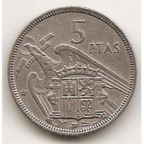 Moneda De España 5 Pesetas Año1957 Km#786 Estrellas = 72