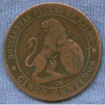 España 5 Centimos 1870 * Rara * Gobierno Provisional *