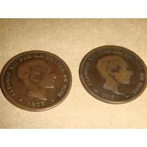Monedas De España 10 Centimos , 1870 , 1877 , 1878 Y 1879