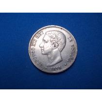 Moneda Española Plata 5 Pesetas 1876 Mbc+ Ebc- P/colección