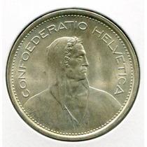 Suiza Hermosa Moneda De Plata De 5 Francos Año 1969 Sin Circ