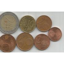 Francia 7 Monedas De 1,2,5,10 Centavos 2 Euro Bimetalica