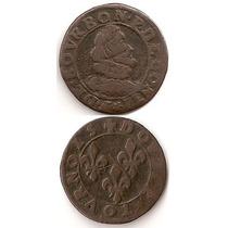 Moneda Francia Double Tournois C 1603 Chateau Renaud