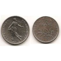 Moneda De Francia 1/ 2 Franc Franco Año1965 Km#931.1 Niquel