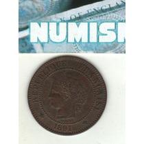 Francia Moneda De 2 Centimes 1891 A Km 827.1 - Excelente+