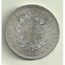 Moneda Francia 50 Francos Plata Año 1975 Tamaño Grande Nueva