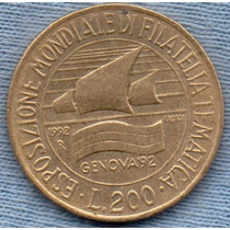 Italia 200 Lire 1992 * Exposicion Sello Postal De Genova *